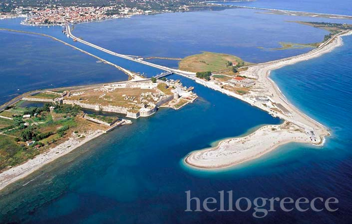 Lefkada The castle of Agia Mavra, the lagoon and Gira
